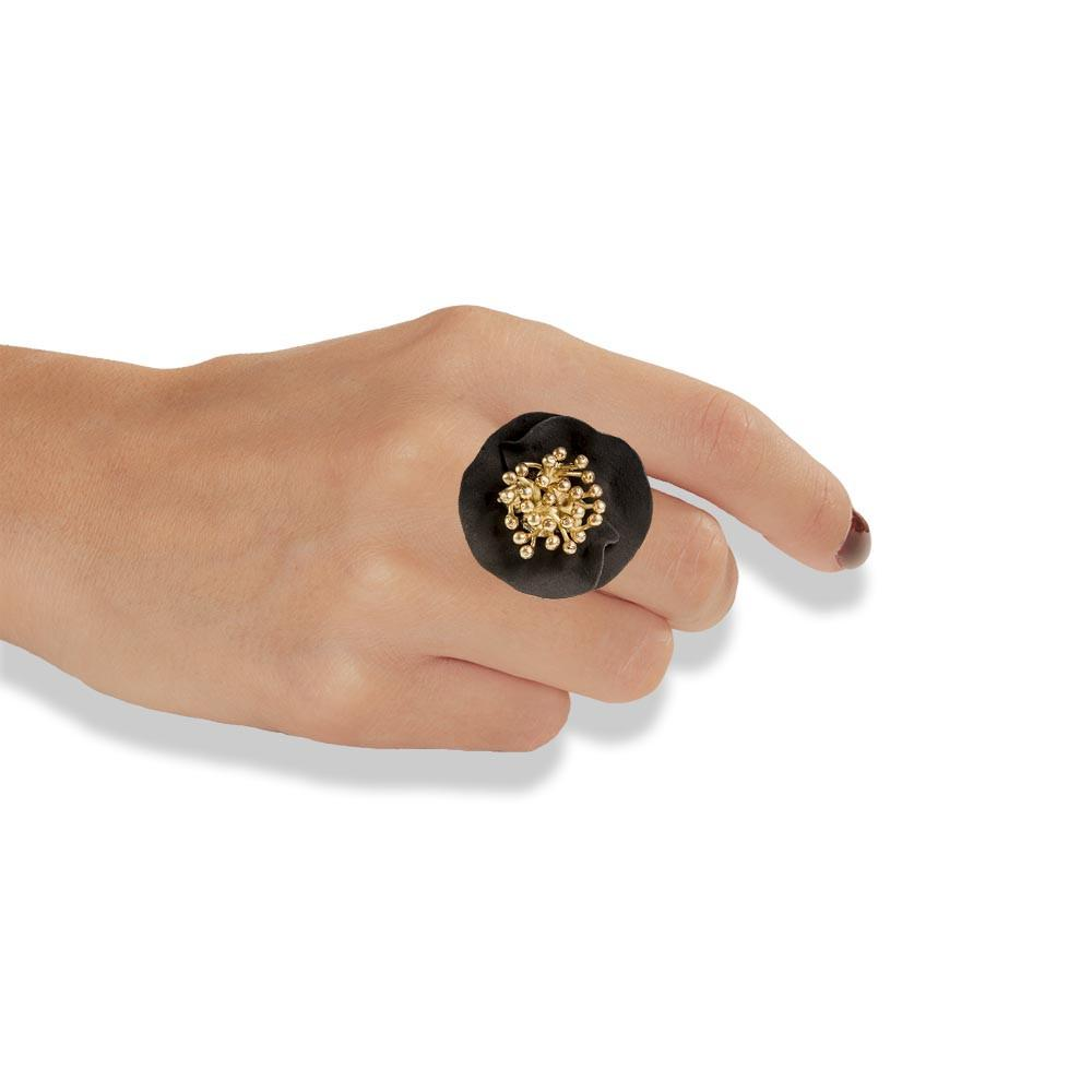 Handmade Gold Plated Silver Black Flower Ring - Anthos Crafts