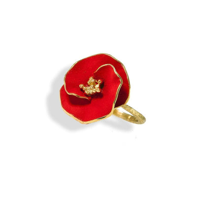 Handmade Gold Plated Silver Red Flower Ring - Anthos Crafts