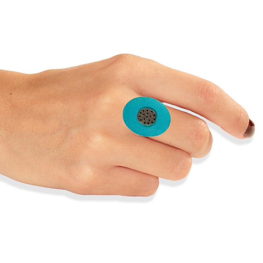 Handmade Gold Plated Silver Turquoise Flower Ring With Black Zirconia - Anthos Crafts