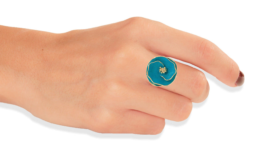 Handmade Gold Plated Silver Turquoise Flower Ring - Anthos Crafts