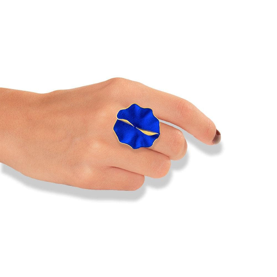 Handmade Gold Plated Silver Royal Blue Flower Ring
