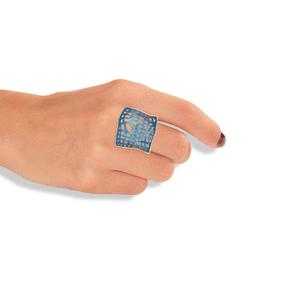 Handmade Gold Plated Silver Ocean Blue Square Ring