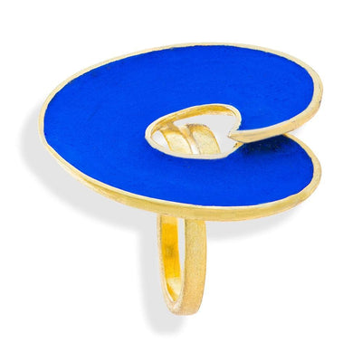 Handmade Gold Plated Silver Royal Blue Spiral Ring - Anthos Crafts