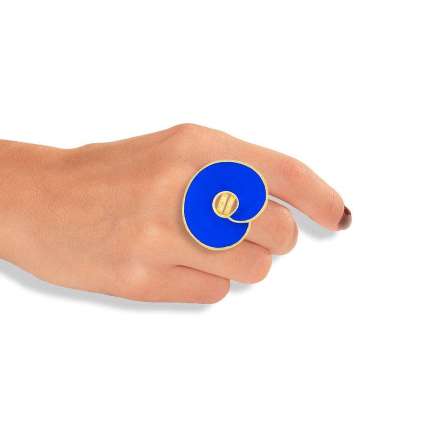 Handmade Gold Plated Silver Royal Blue Spiral Ring