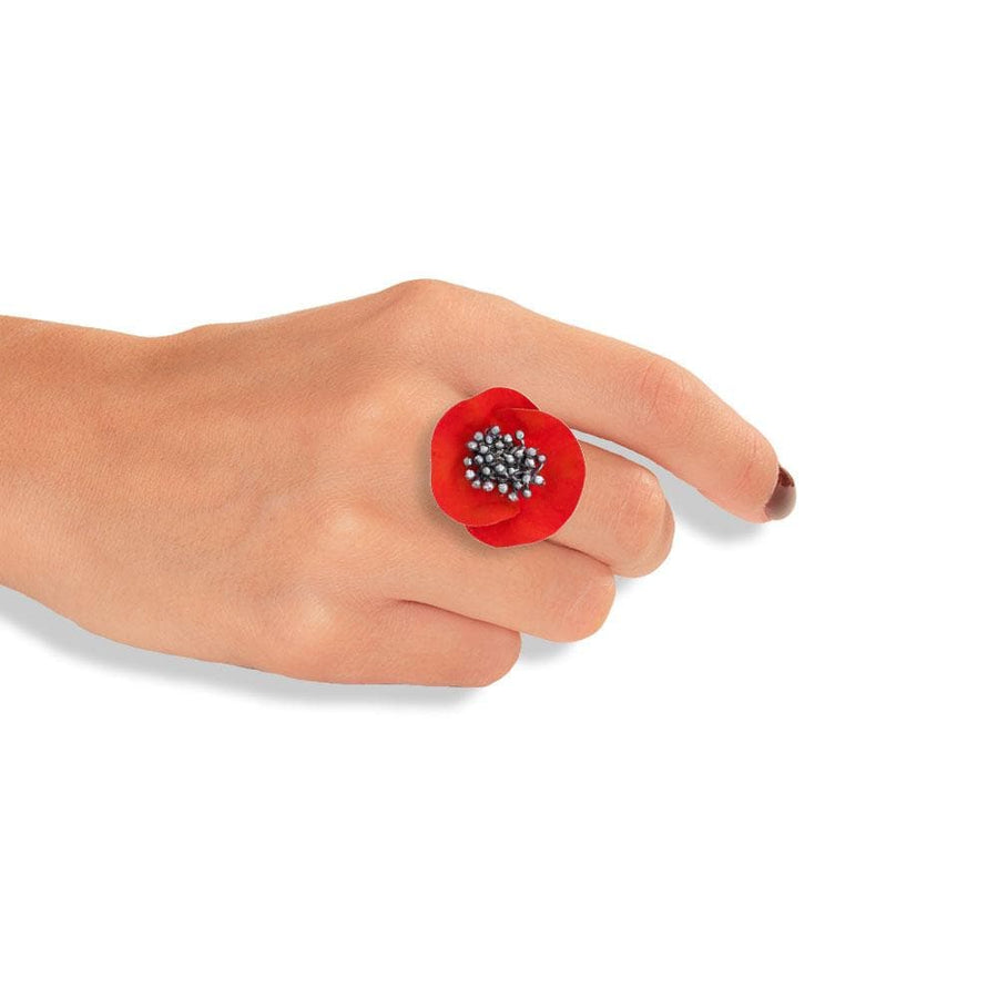 Handmade Gold Plated Silver Red Flower Ring With Black Stamens
