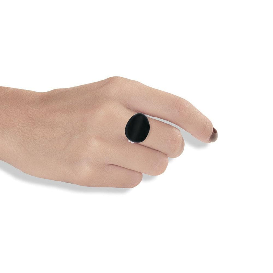 Handmade Silver Ring With Black Enamel - Anthos Crafts