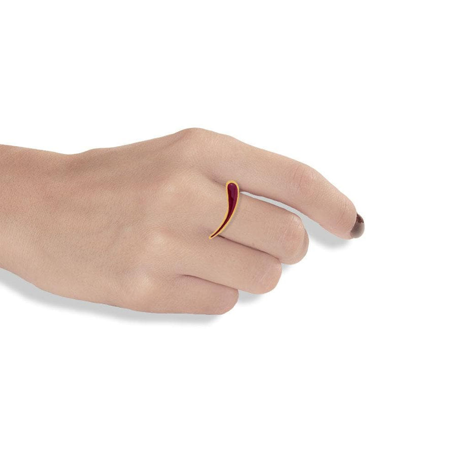 Handmade Gold Plated Silver Ring Dione With Ruby Enamel