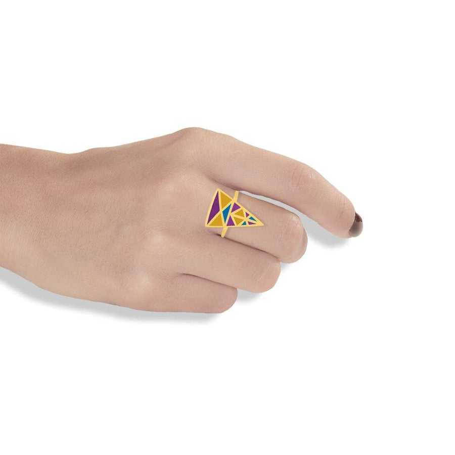 Handmade Gold Plated Silver Colorful Triangle Ring With Dovecote Patterns
