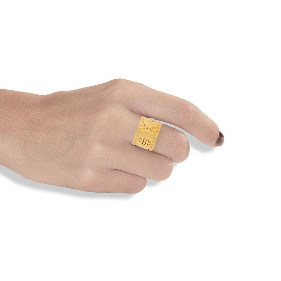 Handmade Gold Plated Silver Ring With Dovecote Patterns