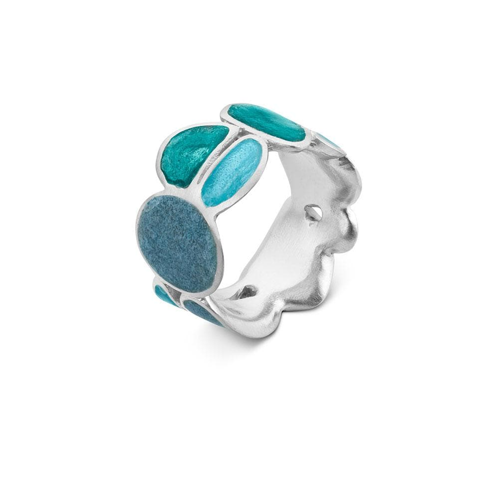 Handmade Rhodium Plated Silver Ring With Turquoise Enamel Born JOIDART - Anthos Crafts