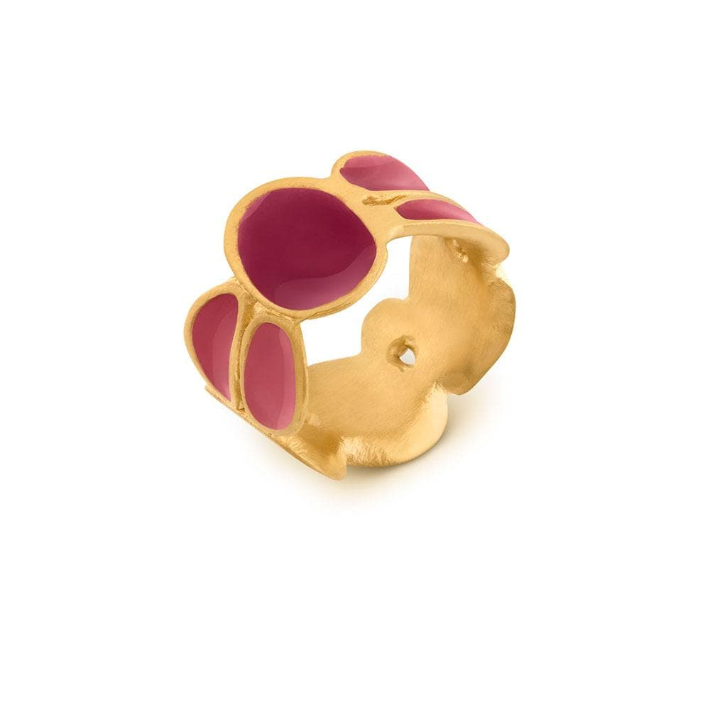 Handmade Gold Plated Ring With Cherry Enamel Born JOIDART - Anthos Crafts