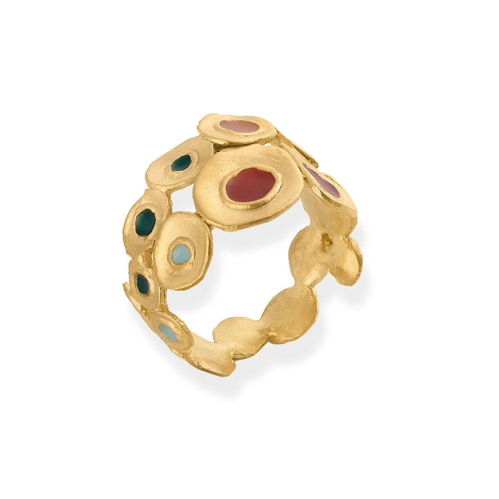 Handmade Gold Plated Ring With Multicolor Enamel Favorita Colors JOIDART - Anthos Crafts