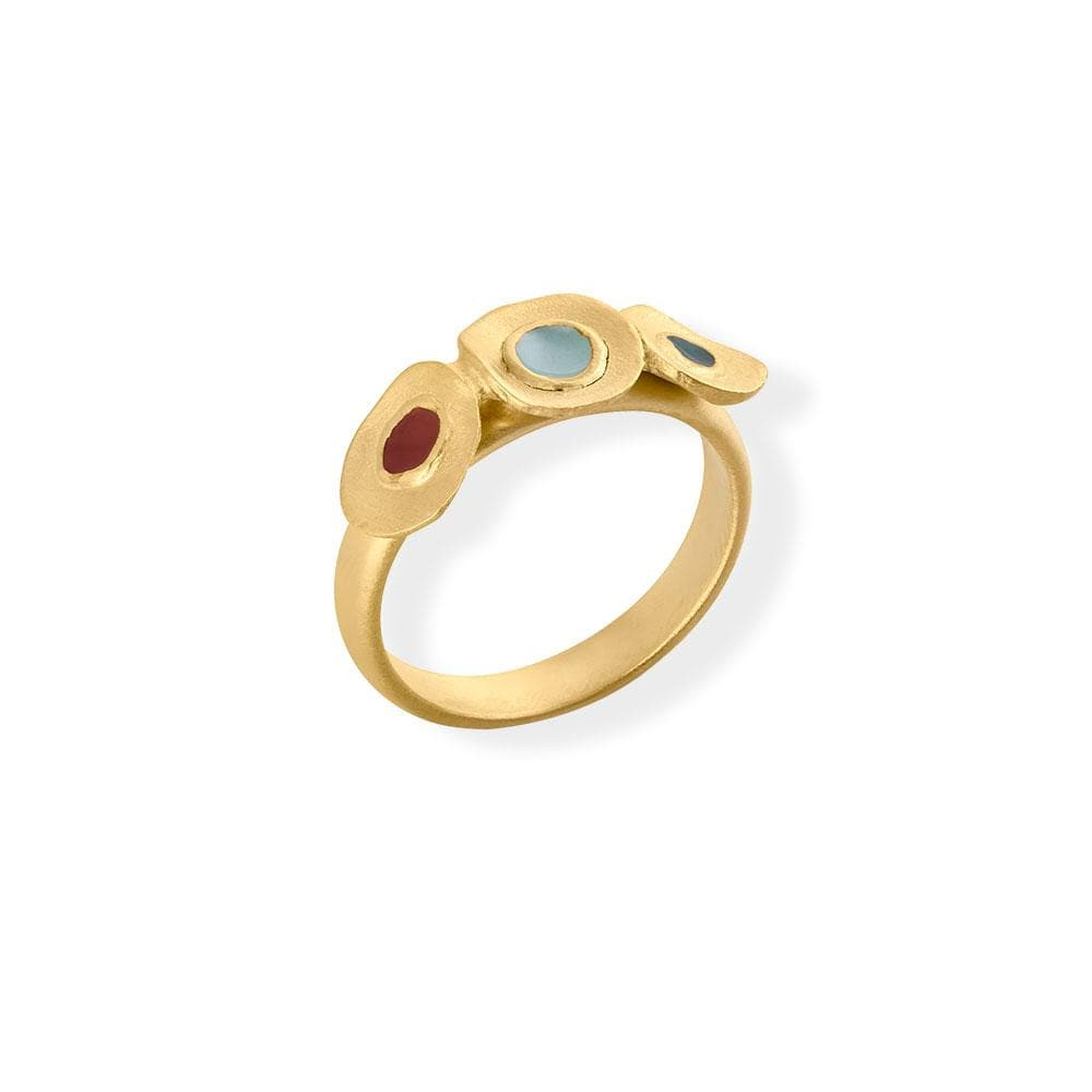 Handmade Gold Plated Slim Ring With Multicolor Enamel Favorita Colors JOIDART - Anthos Crafts