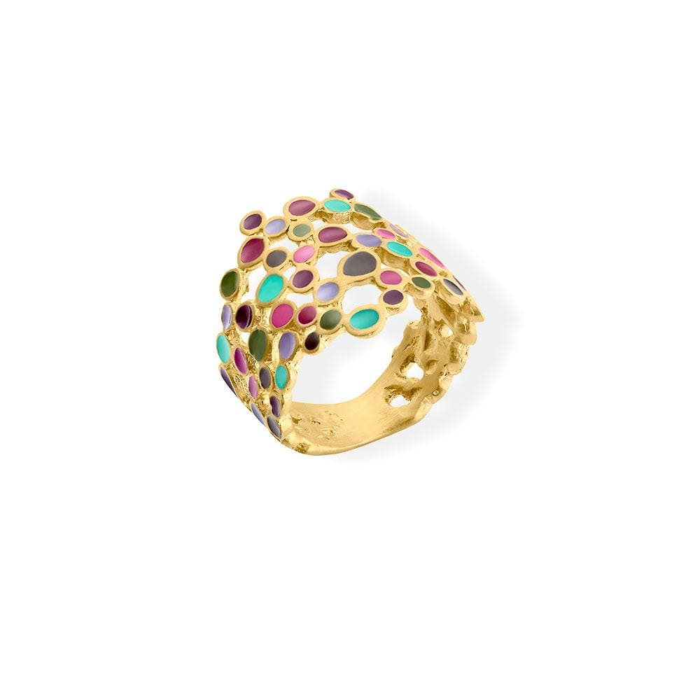 Handmade Gold Plated Ring With Multicolor Enamel Candy Colors JOIDART - Anthos Crafts