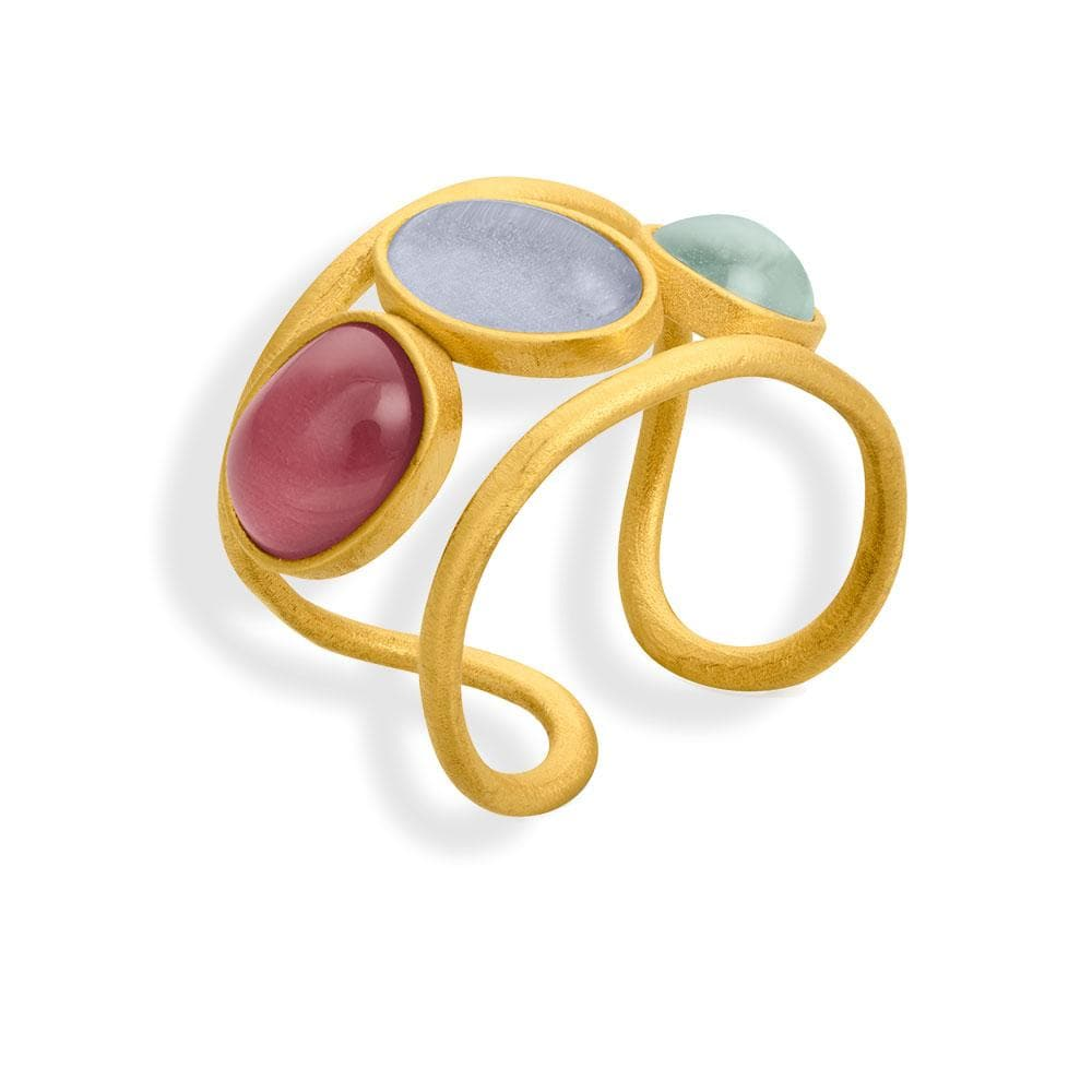 Handmade Gold Plated Ring With Multicolor Murano Crystals Alegria JOIDART - Anthos Crafts