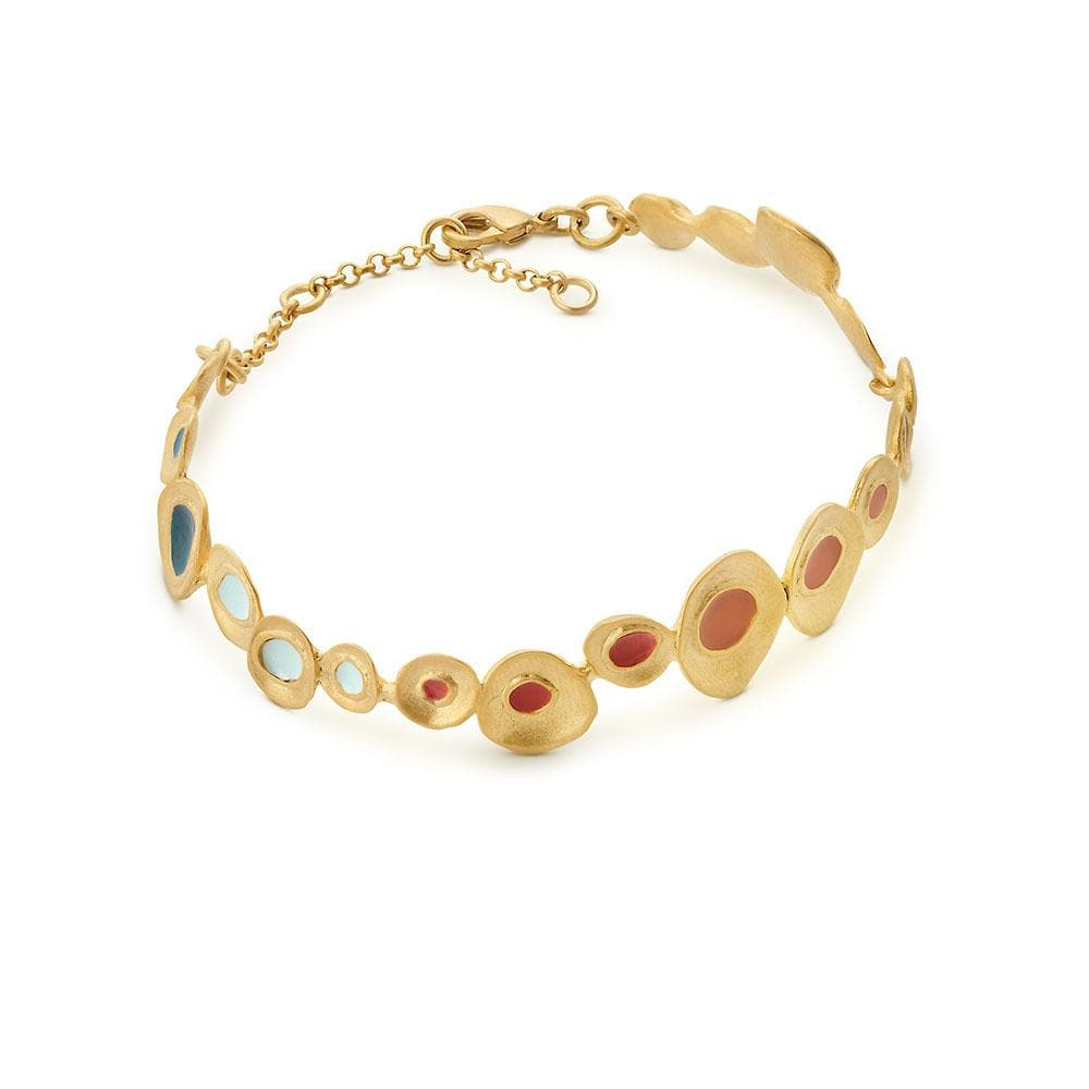 Handmade Gold Plated Bracelet With Multicolor Enamel Favorita Colors JOIDART - Anthos Crafts