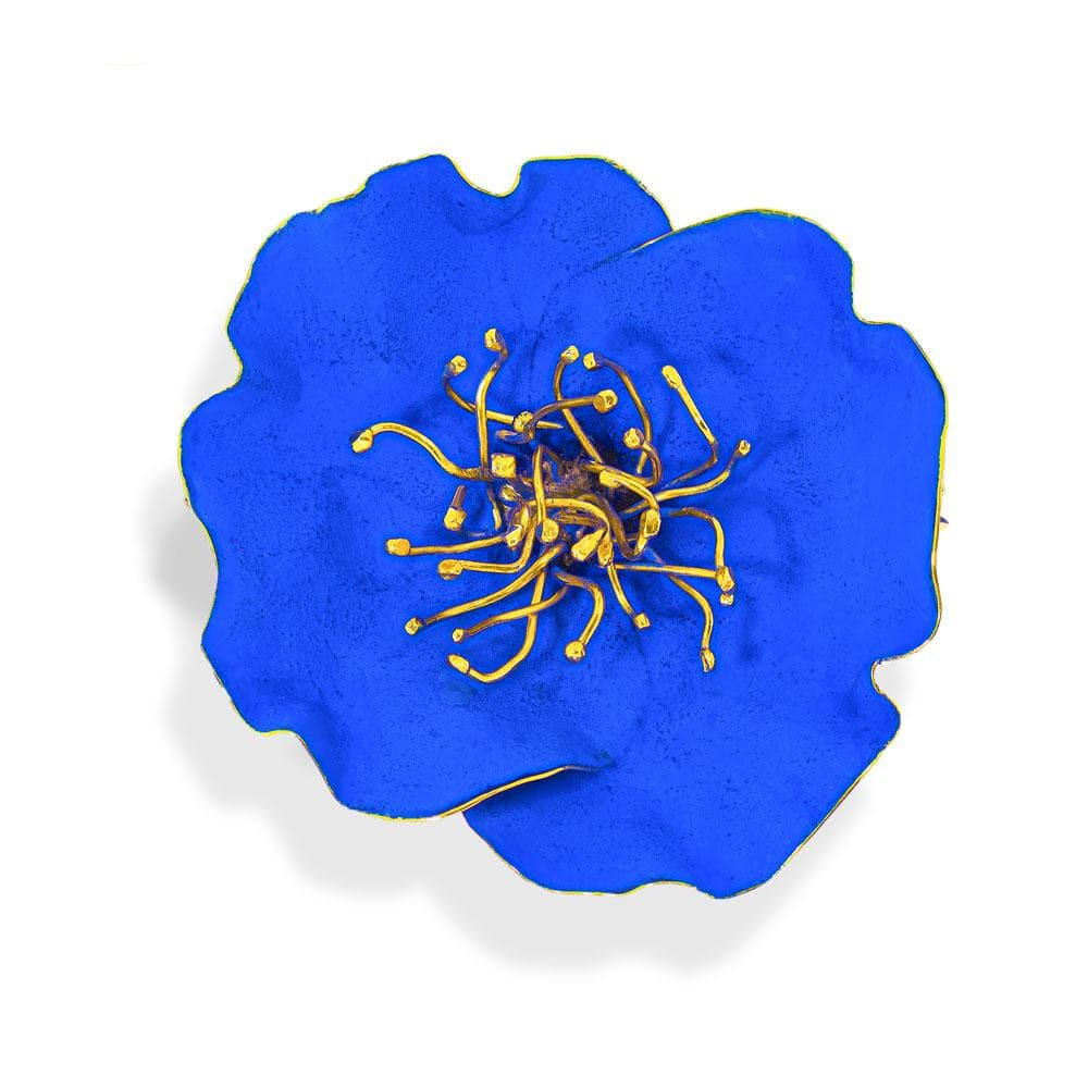 Handmade Gold Plated Royal Blue Poppy Flower Brooch - Anthos Crafts