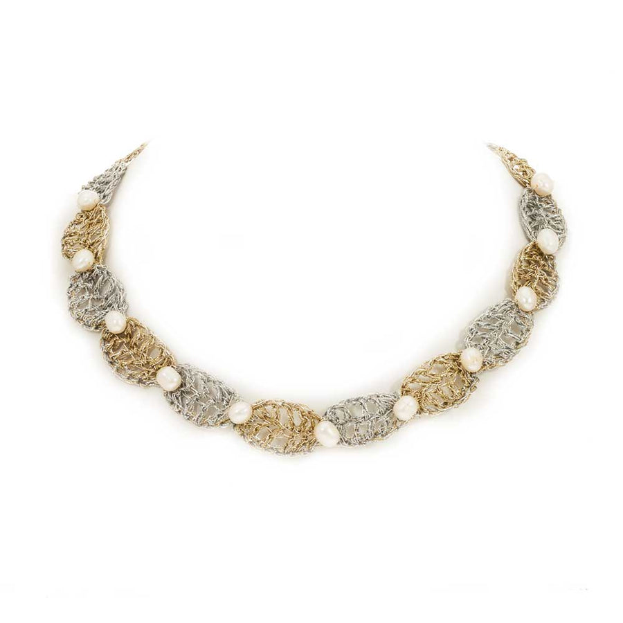 Handmade Gold & Silver Plated Crochet Choker Necklace with Pearls - Anthos Crafts