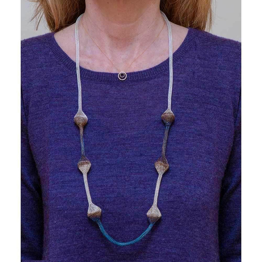 Handmade Woven Long Silver Plated Oxidized Silver Blue Brown Necklace - Anthos Crafts
