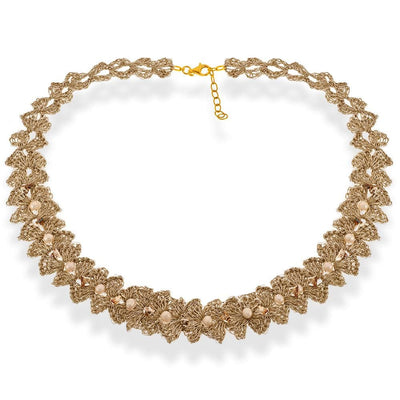 Handmade Gold Plated Crochet Choker Necklace with Flowers & Pearls - Anthos Crafts