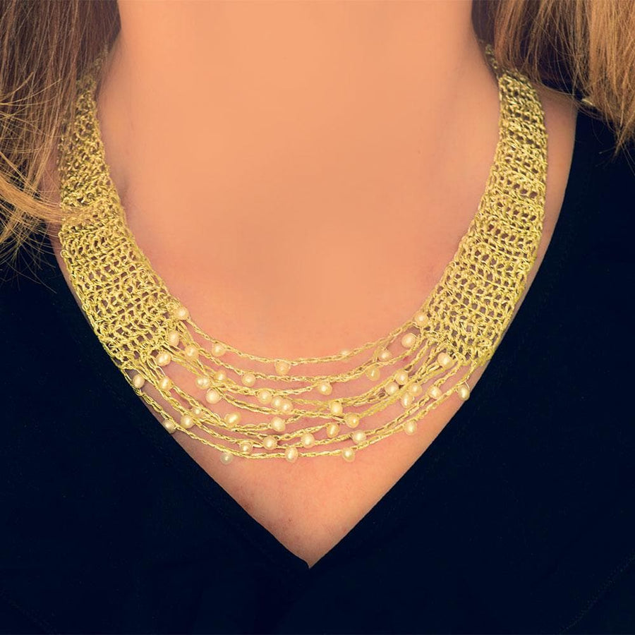 Handmade Gold Plated Choker Necklace with Freshwater Pearls - Anthos Crafts