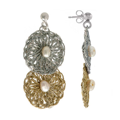 Handmade Gold & Silver Plated Crochet Drop Earrings Two Disks With Pearls - Anthos Crafts