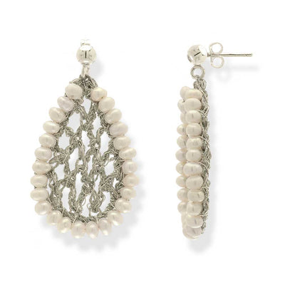 Handmade Silver Plated Crochet Knit Leave Earrings With Pearls - Anthos Crafts