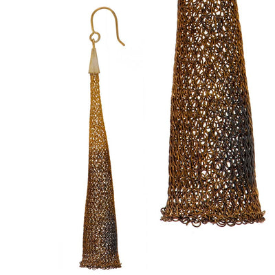 Handmade Woven Long Gold Plated Oxidized Dark Gold Earrings - Anthos Crafts