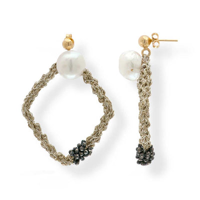 Handmade Gold Plated Crochet Square Earrings With Pearls - Anthos Crafts