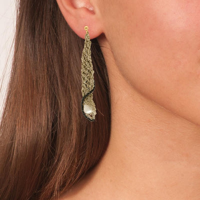 Handmade Gold Plated Crochet Long Clam Earrings With Pearls - Anthos Crafts