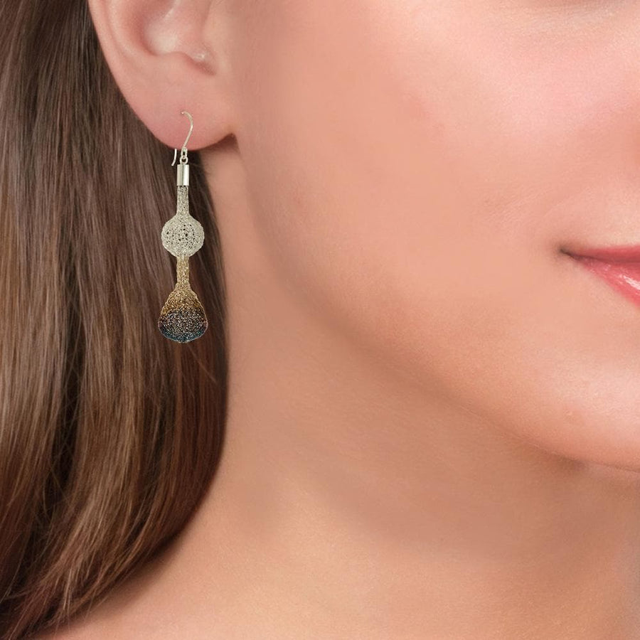 Handmade Woven Long Gold Silver & Blue Oxidized Earrings - Anthos Crafts