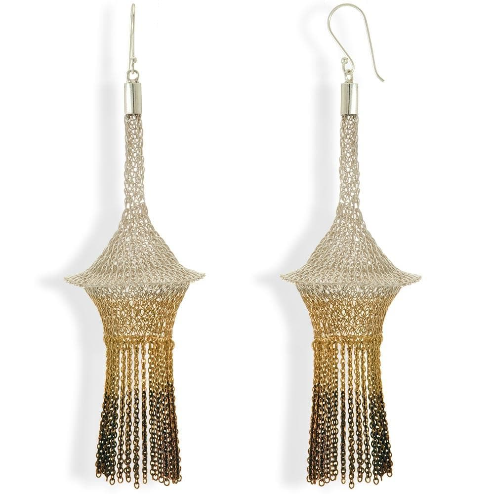 Handmade Woven Gold Silver Oxidized Earrings with Fringes - Anthos Crafts