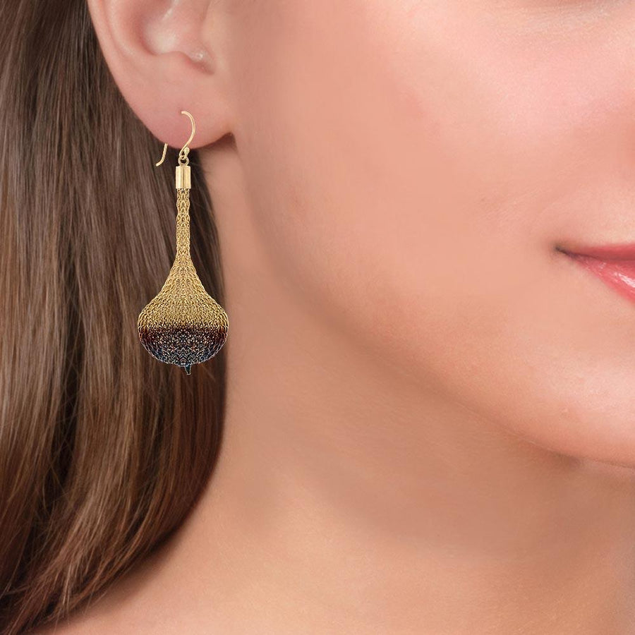 Handmade Long Woven Gold Blue Oxidized Earrings - Anthos Crafts