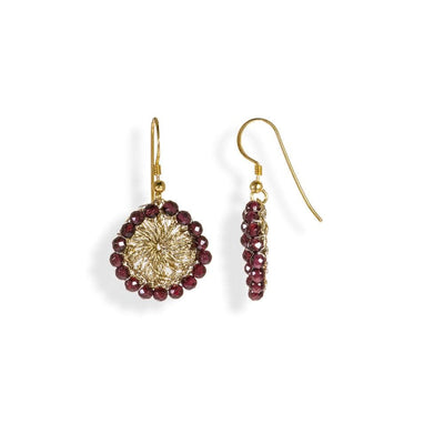 Handmade Gold Plated Crochet Drop Earrings With Garnet Stones - Anthos Crafts