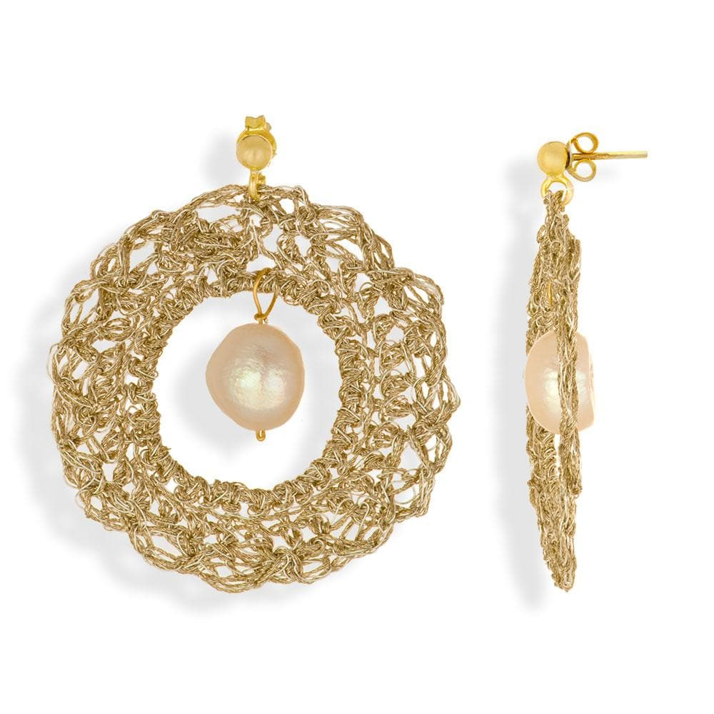 Handmade Gold Plated Crochet Ring Earrings With Pearls - Anthos Crafts