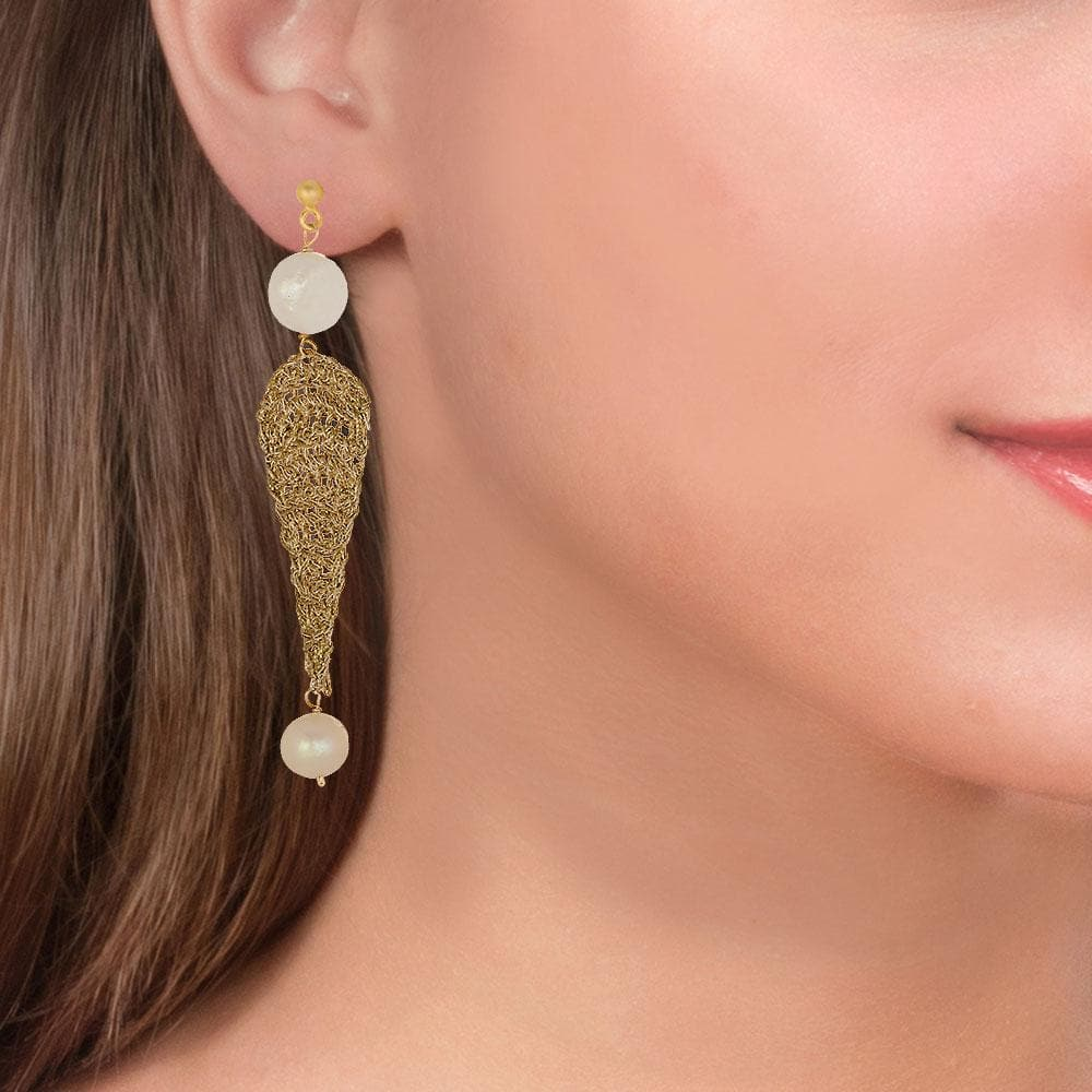 Handmade Gold Plated Crochet Tears Earrings With Pearls - Anthos Crafts