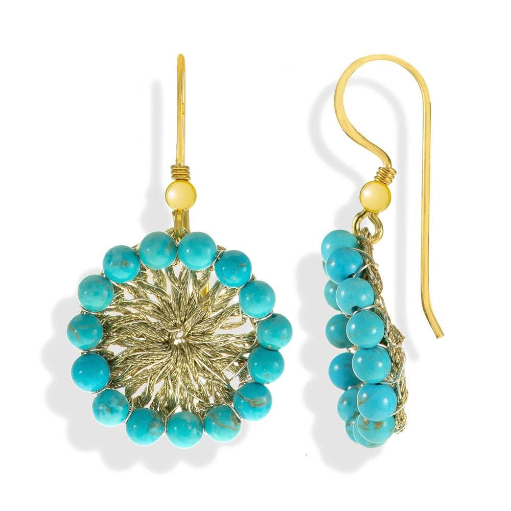 Handmade Gold Plated Crochet Drop Earrings With Turquoise Stones - Anthos Crafts