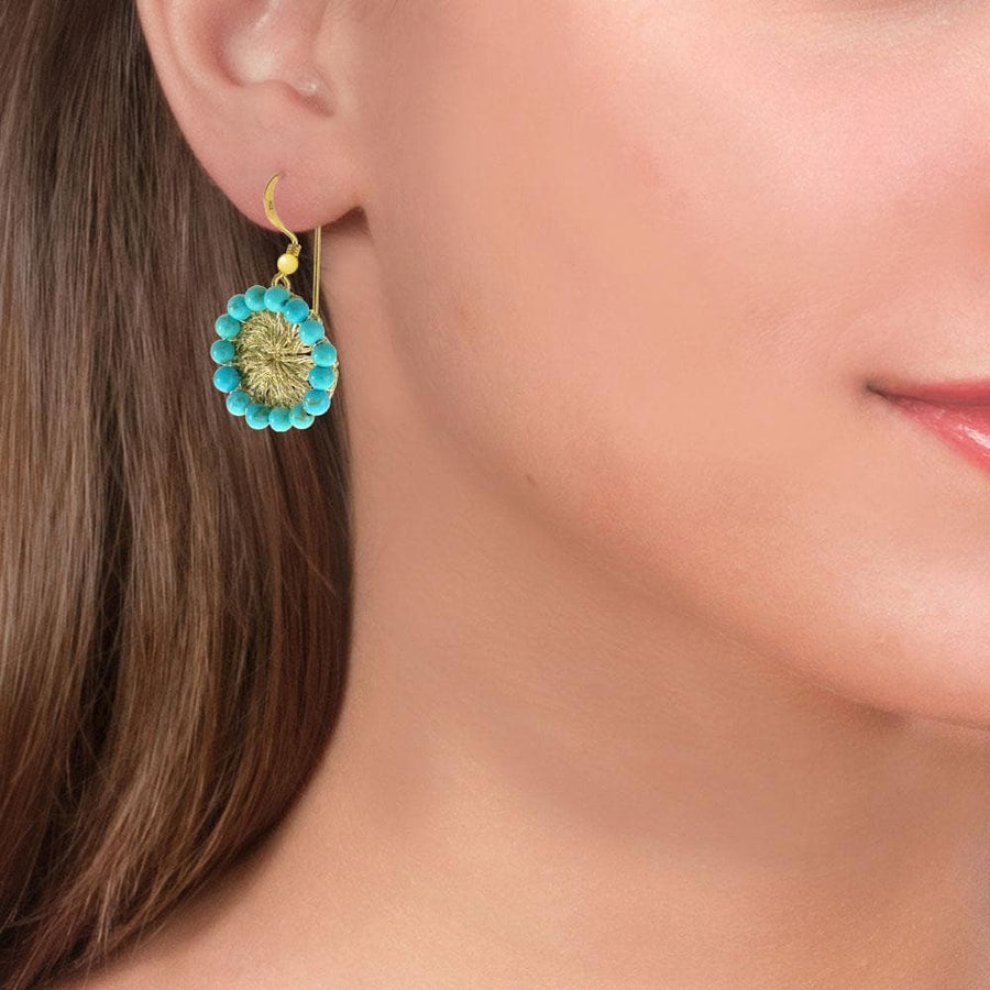 Handmade Gold Plated Crochet Drop Earrings With Turquoise Stones