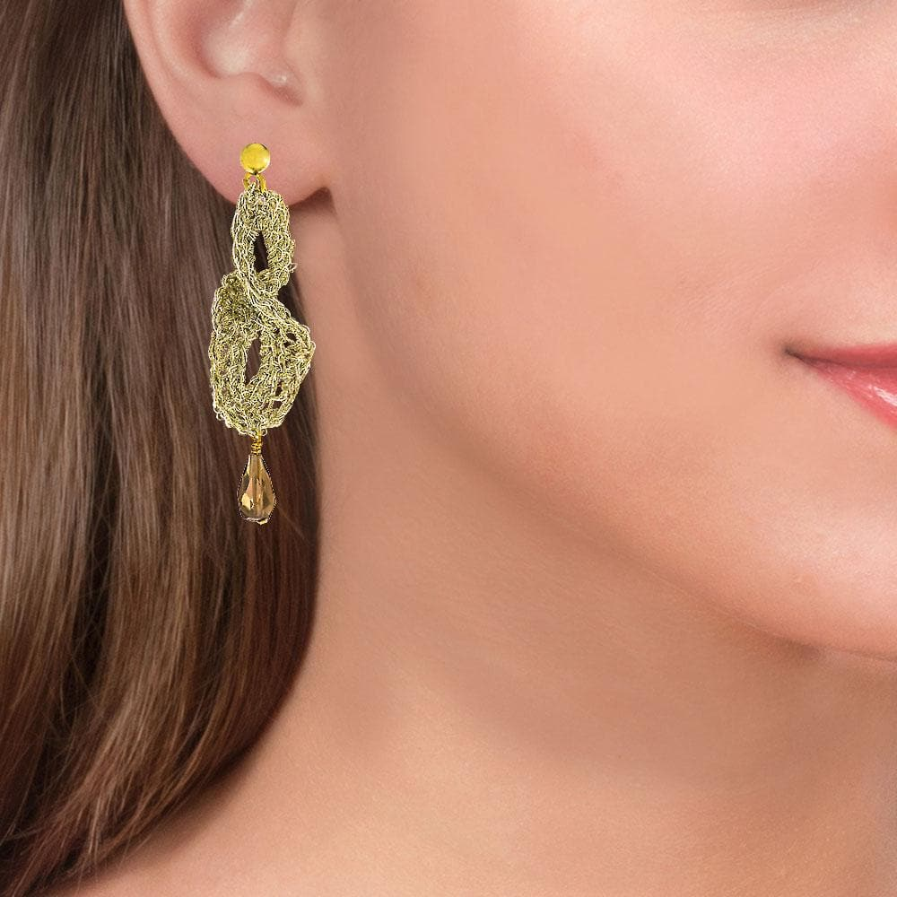 Handmade Gold Plated Crochet Drop Earrings With Smoking Quartz - Anthos Crafts