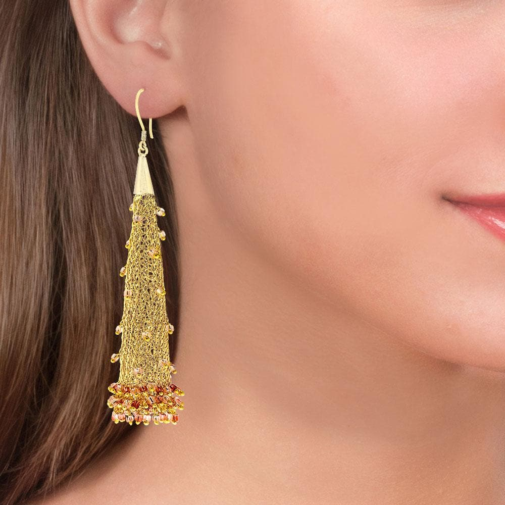 Handmade Long Woven Gold Plated Earrings With Shining Beads - Anthos Crafts