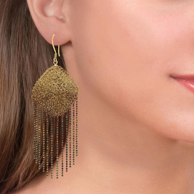 Handmade Woven Long Gold Plated Oxidized Rhombus Earrings With Fringes - Anthos Crafts