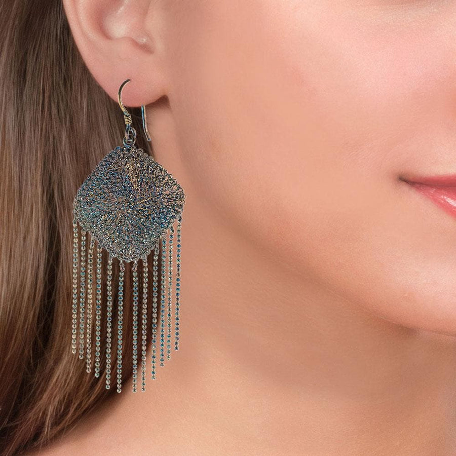 Handmade Woven Long Gold Plated Oxidized Blue Rhombus Earrings With Fringes - Anthos Crafts