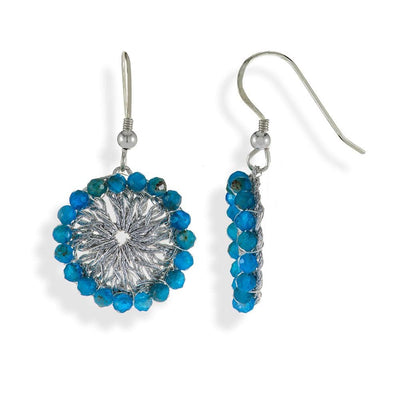 Handmade Silver Plated Crochet Drop Earrings With Apatite Stones - Anthos Crafts