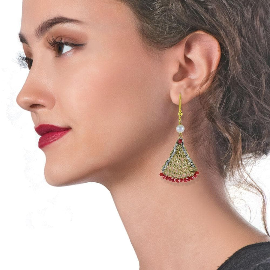 Handmade Gold Plated Crochet Drop Earrings With Zircons & Freshwater Pearls - Anthos Crafts