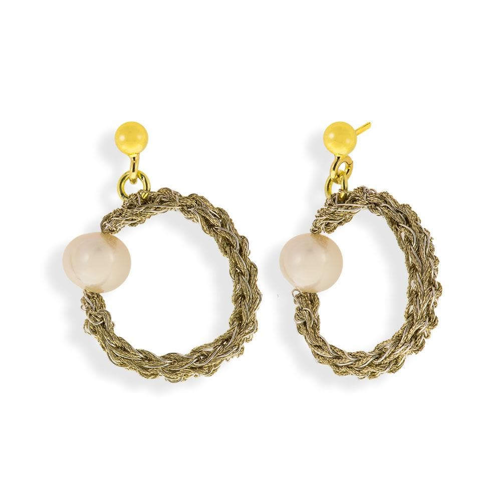 Handmade Gold Plated Crochet Circle Dangle Earrings With Pearls - Anthos Crafts