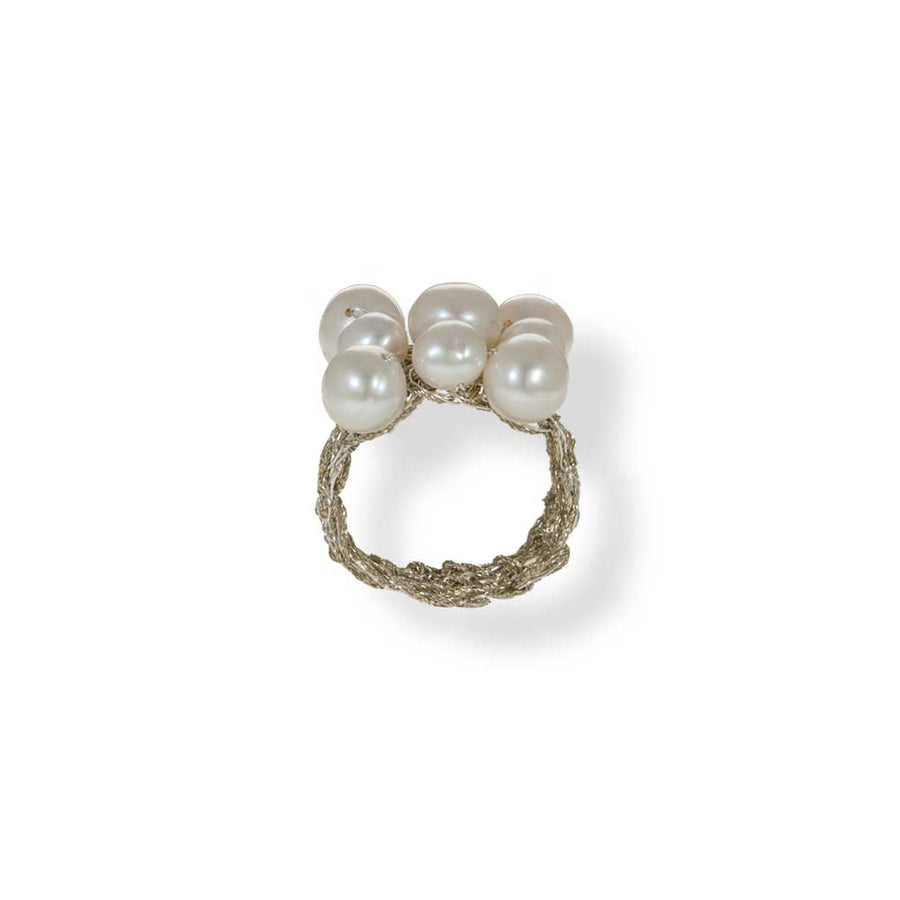 Handmade Gold Plated Crochet Knit Ring With Pearls - Anthos Crafts