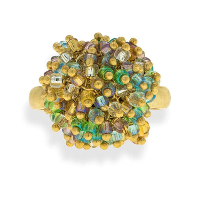 Handmade Gold Plated Vintage Ring With Colorful Shining Beads - Anthos Crafts