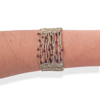 Handmade Gold Plated Knitted Crochet Bracelet with Garnet Stones - Anthos Crafts