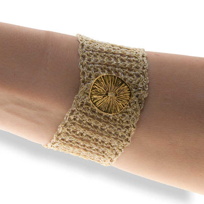 Handmade Gold Plated Knitted Crochet Bracelet with Freshwater Pearls - Anthos Crafts