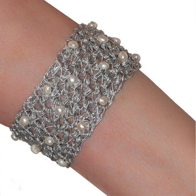 Handmade Silver Plated Knitted Crochet Bracelet with Freshwater Pearls - Anthos Crafts